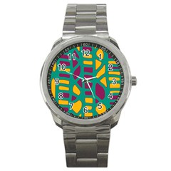 Green, purple and yellow decor Sport Metal Watch