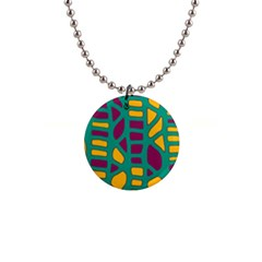 Green, purple and yellow decor Button Necklaces