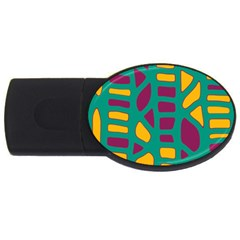 Green, purple and yellow decor USB Flash Drive Oval (4 GB)