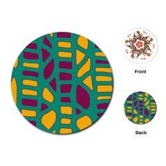 Green, purple and yellow decor Playing Cards (Round)