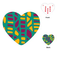 Green, purple and yellow decor Playing Cards (Heart)