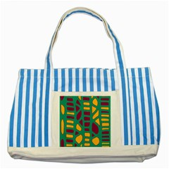 Green, purple and yellow decor Striped Blue Tote Bag