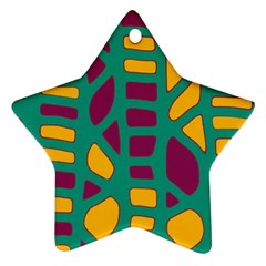 Green, purple and yellow decor Star Ornament (Two Sides)
