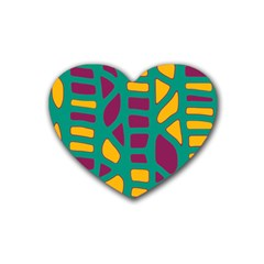 Green, purple and yellow decor Heart Coaster (4 pack)
