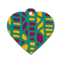 Green, purple and yellow decor Dog Tag Heart (One Side)