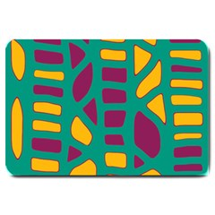 Green, purple and yellow decor Large Doormat
