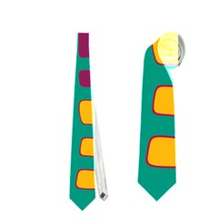 Green, purple and yellow decor Neckties (One Side)