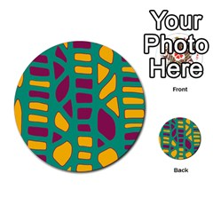 Green, purple and yellow decor Multi-purpose Cards (Round)