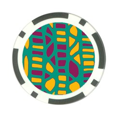 Green, purple and yellow decor Poker Chip Card Guards (10 pack)