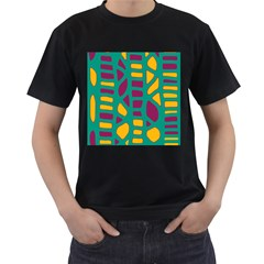 Green, purple and yellow decor Men s T-Shirt (Black)