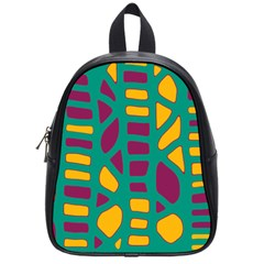 Green, purple and yellow decor School Bags (Small)