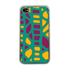 Green, purple and yellow decor Apple iPhone 4 Case (Clear)