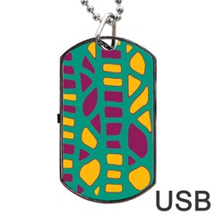 Green, purple and yellow decor Dog Tag USB Flash (Two Sides)