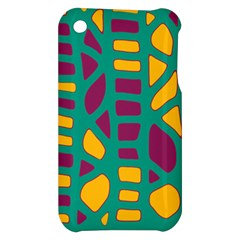 Green, purple and yellow decor Apple iPhone 3G/3GS Hardshell Case