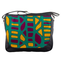 Green, purple and yellow decor Messenger Bags