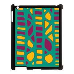 Green, purple and yellow decor Apple iPad 3/4 Case (Black)