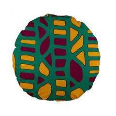 Green, purple and yellow decor Standard 15  Premium Round Cushions