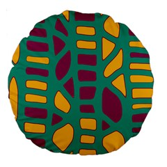 Green, purple and yellow decor Large 18  Premium Round Cushions