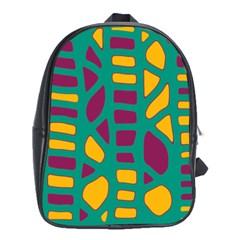 Green, purple and yellow decor School Bags (XL)
