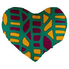 Green, purple and yellow decor Large 19  Premium Heart Shape Cushions