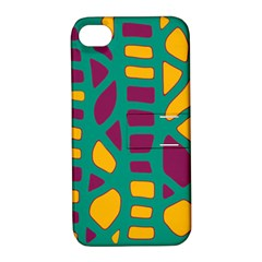 Green, purple and yellow decor Apple iPhone 4/4S Hardshell Case with Stand