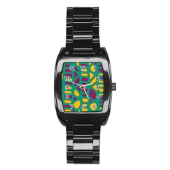 Green, purple and yellow decor Stainless Steel Barrel Watch