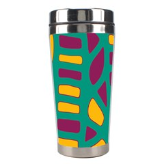 Green, purple and yellow decor Stainless Steel Travel Tumblers