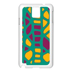 Green, purple and yellow decor Samsung Galaxy Note 3 N9005 Case (White)