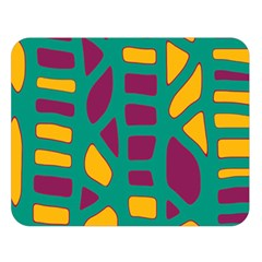 Green, purple and yellow decor Double Sided Flano Blanket (Large)