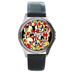 Red and yellow chaos Round Metal Watch