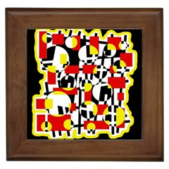 Red and yellow chaos Framed Tiles