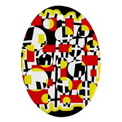 Red and yellow chaos Ornament (Oval)