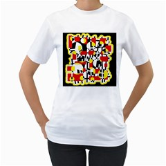 Red and yellow chaos Women s T-Shirt (White) (Two Sided)