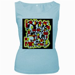 Red and yellow chaos Women s Baby Blue Tank Top
