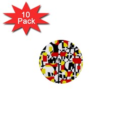 Red and yellow chaos 1  Mini Buttons (10 pack)