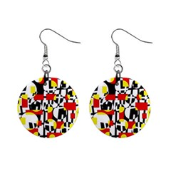 Red and yellow chaos Mini Button Earrings