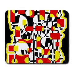 Red and yellow chaos Large Mousepads