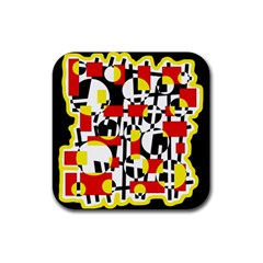 Red and yellow chaos Rubber Coaster (Square)