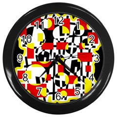 Red and yellow chaos Wall Clocks (Black)