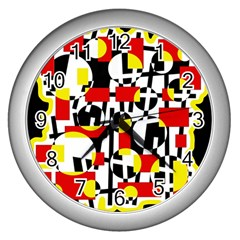 Red and yellow chaos Wall Clocks (Silver)