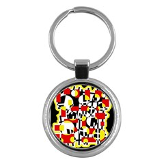 Red and yellow chaos Key Chains (Round)