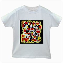 Red and yellow chaos Kids White T-Shirts