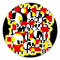 Red and yellow chaos Magnet 5  (Round)