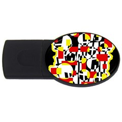 Red and yellow chaos USB Flash Drive Oval (1 GB)