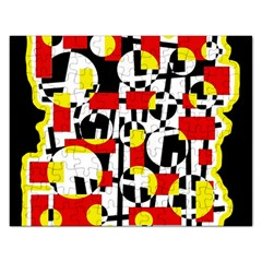 Red and yellow chaos Rectangular Jigsaw Puzzl