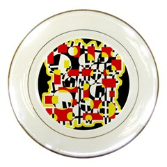 Red and yellow chaos Porcelain Plates