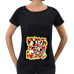 Red and yellow chaos Women s Loose-Fit T-Shirt (Black)