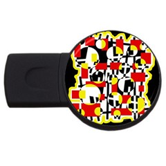 Red and yellow chaos USB Flash Drive Round (4 GB)