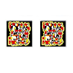 Red and yellow chaos Cufflinks (Square)