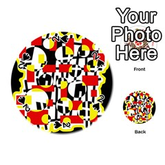 Red and yellow chaos Playing Cards 54 (Round)